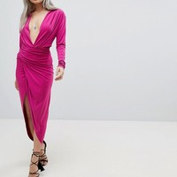 John Zack Petite Plunge Front Wrap Maxi Dress at asos.com