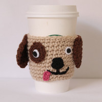 Puppy Cup Sleeve Doggie Crochet Coffee Cozy