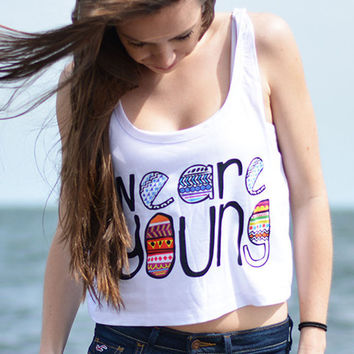 We Are Young Print Sleeveless Cropped Top