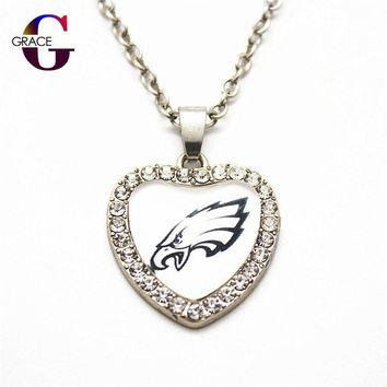 Fashion Philadelphia Eagles Football Sports Charms Heart Crystal Necklace Pendant With 50cm Chains For Women Men Diy Jewelry