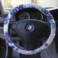 Purple Floral Paisley Steering Wheel Cover
