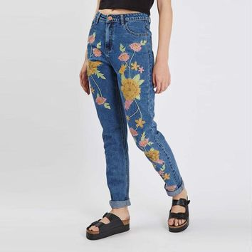 Floral Jeans Women  Waist Blue Harem Pants Denim Capris
