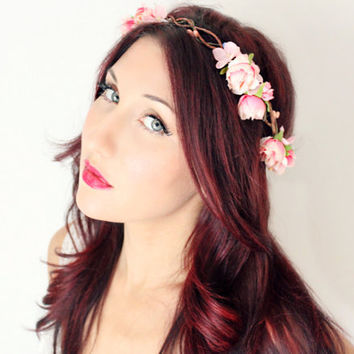 Rose Flower Crown Wedding Headpiece pink whimsical fairy by deLoop