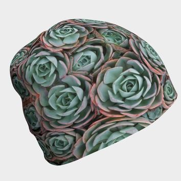 Succulent Print Beanie Hat Winter Hat | Hippie Clothes | Boho Bohemian | Psychedelic Geometric | Plant Nature Aesthetic | Festival Clothing