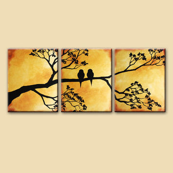 48x20 Large original art landscape painting, love birds on tree branch on canvas