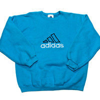 Vintage 90s Adidas Aqua Blue Crewneck Sweatshirt Made in USA Mens Size Large