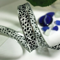Christmas Ribbon: Sheer White Wire Edged Ribbon with Black Flitter Animal Print Spots and silver edge - 1 yards - 1 inch wide