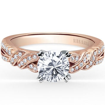 "Kirk Kara ""Pirouetta"" Split Shank Twist Diamond Engagement Ring"