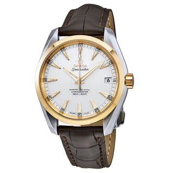 Omega Seamaster Aqua Terra Silver Dial Brown Leather Mens Watch 23123392102002