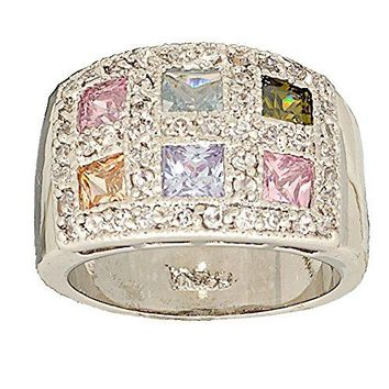 Pastel Multi Color Cubic Zirconia Wide Band Cocktail Ring