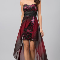 High Low Strapless Sweetheart Sequin Dress