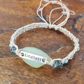 Hemp Bracelet, Sea Glass, Adjustable Hemp Bracelet, Czech Glass Beads, Gift, Sea Glass Bracelet, Kindness Bracelet, Handmade, Hemp Jewelry