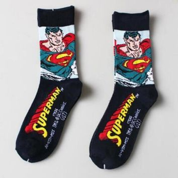 Marvel The Avengers Superman Socks cartoon style DC personality Cotton Fashion Casual Men Sock Spring autumn personality Socks