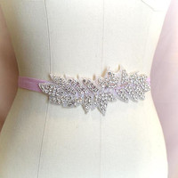 Sash belt , Rhinestone Crystal leaves buckle Baby Pink shine Stretch elastic Belt Skinny Sash Belt , wedding belt bridal sash dress belt