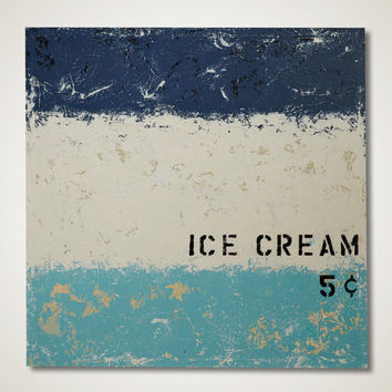 Mid Century Modern Painting Ice Cream Nostalgia 32x32 Original Abstract Wall Art