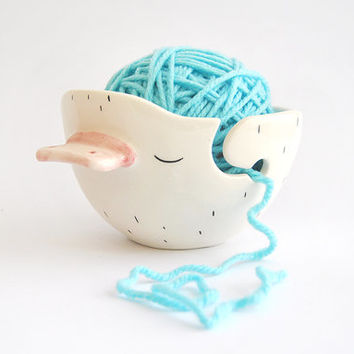 Ceramic Chubby Platypus Yarn Bowl, Knitting Bowl, Wool Bow. Decorated with Yellow Polka Dots Inside. Made To Order
