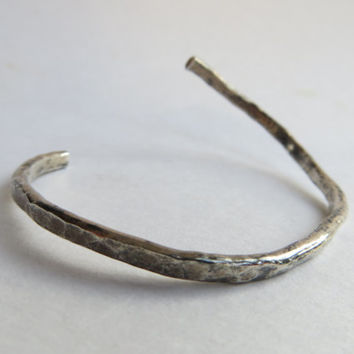 Hammered silver bracelet - Forged sterling silver cuff - Bangle cuff wrap bracelet -Handmade and unique statement boho tribal gypsy hippie