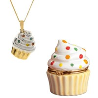 Diamond Cupcake Charm Pendant in Gift Box. 10K Yellow Gold--Jewelry-Pendants & Necklaces-Diamond