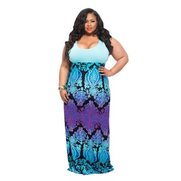Plus Size Sleeveless Long Maxi Dress