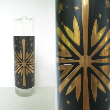 Vintage Black and Gold Cocktail Pitcher / Mid Century Modern Glass Carafe