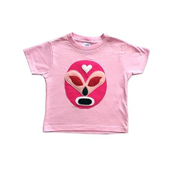 Girl Kid's Shirt- Luchador Rosa - Pink Mexican Wrestler