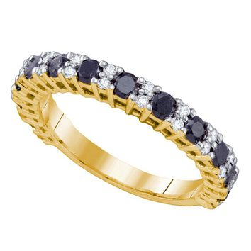 10kt Yellow Gold Womens Round Black Color Enhanced Diamond Wedding Band Ring 1.00 Cttw