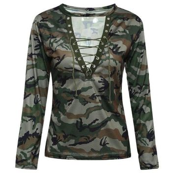 Green Gray Camouflage V-neck Long sleeve T-shirt for dropshipping