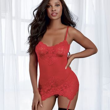 Ruby Ruby Red Garter Slip & G-String