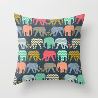 baby elephants and flamingos Throw Pillow by Sharon Turner | Society6