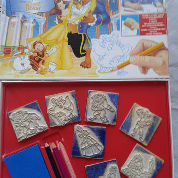 Vintage Disney Beauty and the Beast   7 wood backed rubber stamps