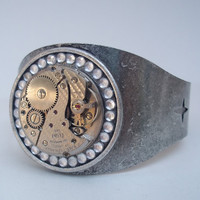 Gear me up Cuff Steampunk repurposed by TiffanySaxtonJewelry