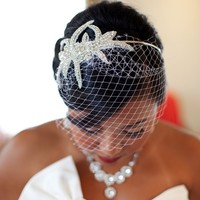 Crystal Bridal Birdcage veil - Sophia our Couture Wedding Birdcage Veil with Crystal & Silver Beaded Headband