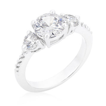 Alba Three Round Stone Engagement Ring | 2.5ct | Cubic Zirconia