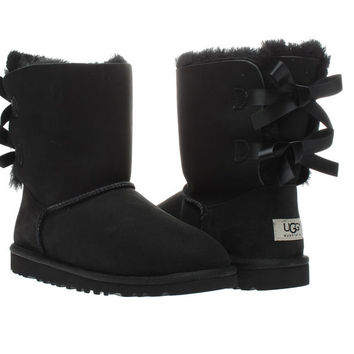 UGG Australia Bailey Bow Black Girls Winter Boots 3280