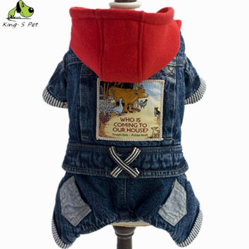 2016 New Jean Pet Cat Dog Animal Printed Costume Warm Winter Dogs Clothes Coat Cowboy Jean Jacket Four Leg Clothing For Dogs