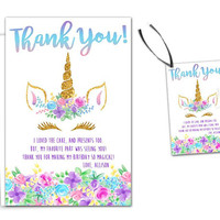 Unicorn Thank You Cards - Unicorn Birthday Party Tags - Unicorn Head Birthday - Unicorn Face Birthday Thank You Notes - Tag - Shower Tag