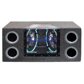 "BANDPASS BOX PYRAMID DUAL 10"" 1000 WATT; NEON LIGHTING"