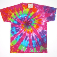 Child Large/ Tie Dye Shirt/ Rainbow Spiral with Fuchsia
