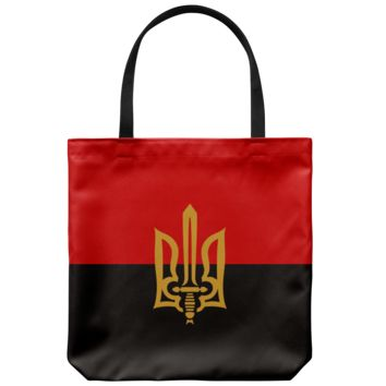 Stylized Tryzub And Red-Black Flag - Tote Bag