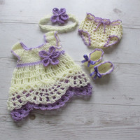 Baby Dress Set Pattern, Crochet patterns for baby dress, headband, lace diaper cover, and ballerina shoes in 5 size newborn to 12 months