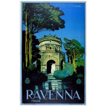 Original Vintage 1920s ENIT Italian State Travel Agency Poster for Ravenna Italy