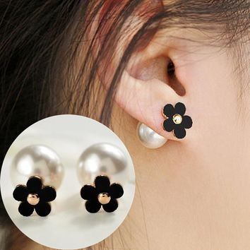 ES785 Double Sides Fashion Flowers Stud Earring Imitation Pearls Earrings Korean Models Ladies Ear Jewelry Brincos Bijoux