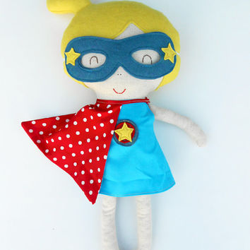 Doll, superhero doll. fabric doll, large ragdoll, dress up dolls, doll play set, superhero geirl doll, soft toy, soft doll, cloth doll play