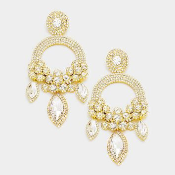 Oversized Marquise Triple Flower Chandelier Evening Earring