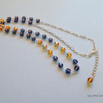 Czech Glass Necklace – dark blue and orange/amber/honey faceted round beads linked by a romantic style silver plated chain. Casual, gift