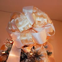 Shiny Gold with white winter scene, Shimmering White Ribbons Christmas Tree Topper Bow