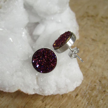 Plum Druzy Studs Rhodium Plated Sterling Silver Titanium Drusy Quartz Bezel Set Earrings