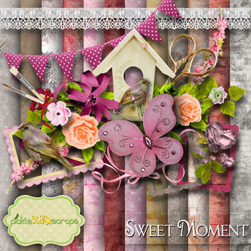 Sweet Moment - Digital Scrapbook Kit - Printable Backgrounds - 12x12 inch Papers - FREE Quickpage Layout - including ALPHA
