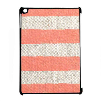 coral stripes on unbleached natural linen for iPad Air CASE *07*