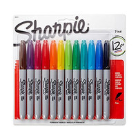 Sanford 30075 Markers Sharpie Fine Point Permanent, 12-Pack, Assorted Colors(30075PP)